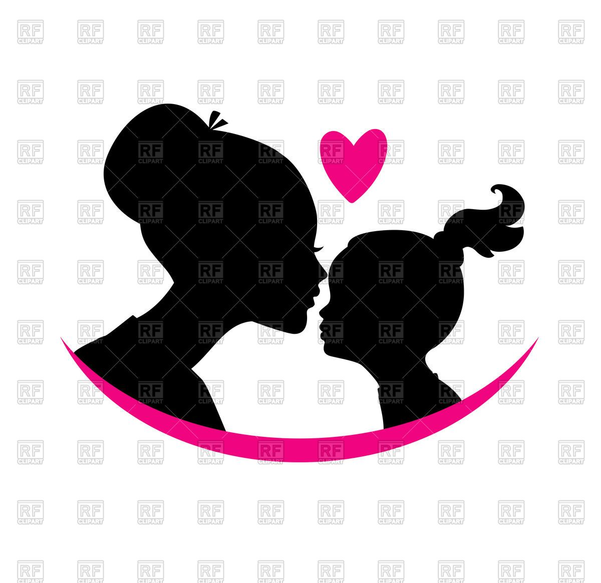 African amercan mom and daughter clipart transparent download Mom and daughter love - black silhouette of heads with heart Vector ... transparent download