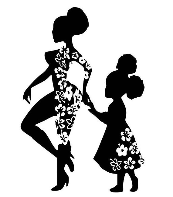 African mother daughter clipart vector freeuse stock Mini Me Afro Girl Mother and Daughter SVG, Digital Image ... vector freeuse stock