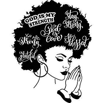 Black and white clipart of african american women clip transparent Yetta Quiller Afro Woman Praying Lord Queen Natural Afro Hair African  American Female Lady Vector Clipart Digital Circuit Vinyl Wall Decor Cutting clip transparent