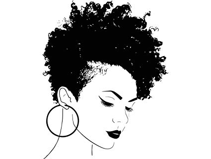 African america clipart with afro vector black and white stock Amazon.com: Yetta Quiller Afro Woman Princess Queen Afro Hair ... vector black and white stock