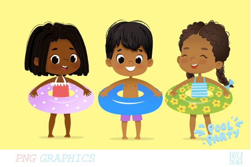 African america kids clipart svg download Pool Party African American Kids By LisitsaImage | TheHungryJPEG.com svg download