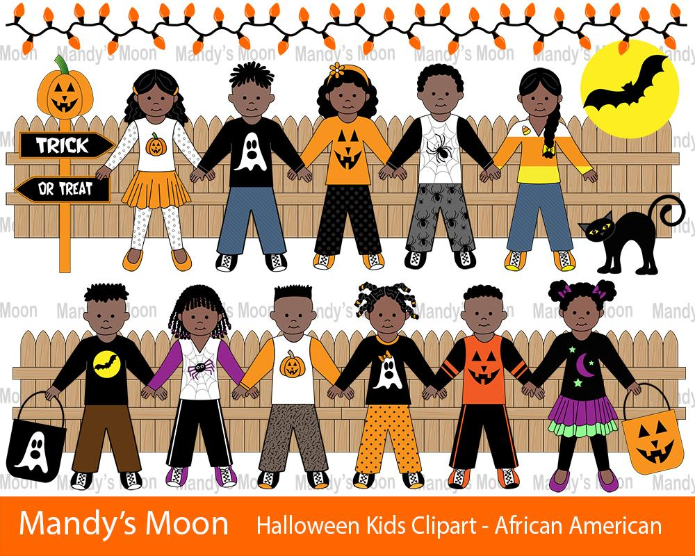 African america kids clipart jpg transparent library Halloween Kids Clipart Set - African American Kids (Personal & Nonprofit  Use only) jpg transparent library
