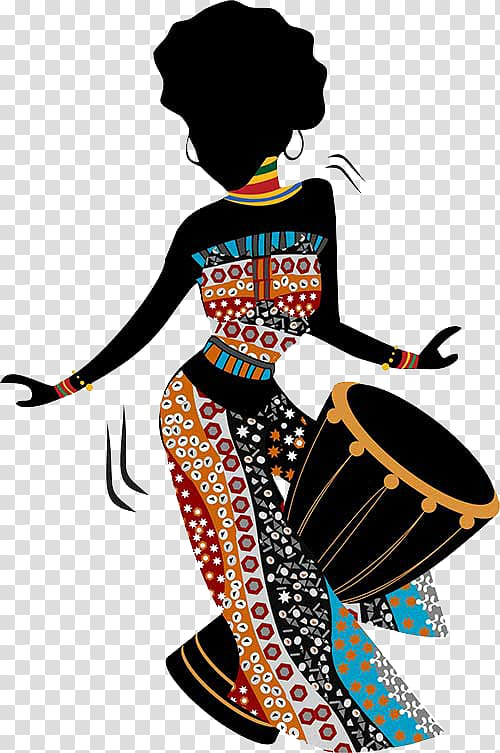 African american art clipart vector black and white Woman playing goblet drum illustration, African art Painting African ... vector black and white