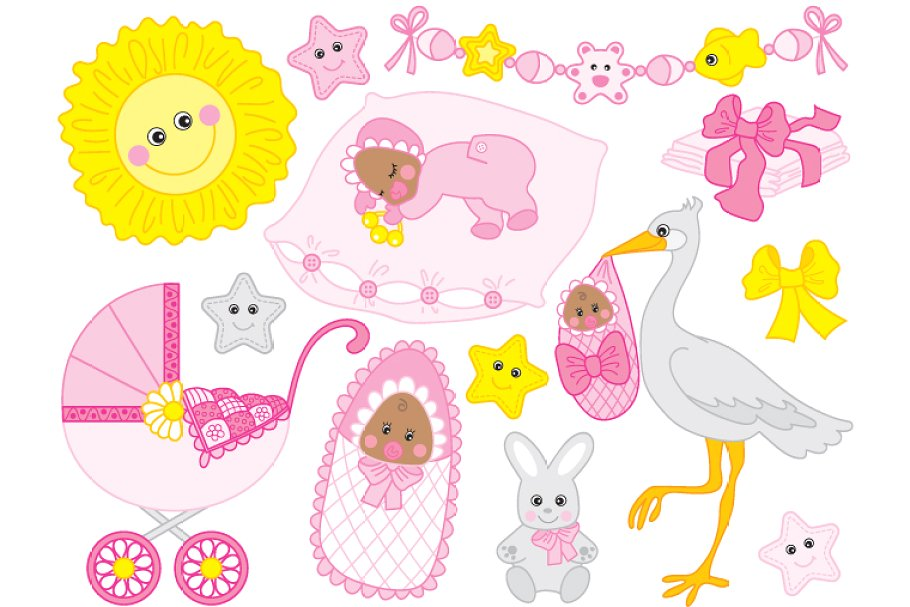 African american baby shower clipart image black and white download African American Baby Girl Set image black and white download