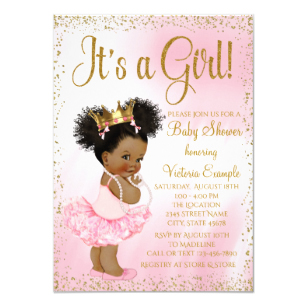 African american baby shower clipart vector library Pink Gold African American Princess Baby Shower Invitation vector library