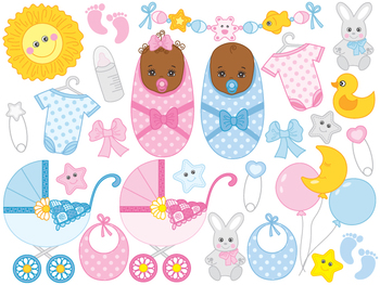 African american baby shower clipart graphic royalty free download African American Baby Clipart - Digital Vector Baby Boy, Girl, Newborn Clip  Art graphic royalty free download