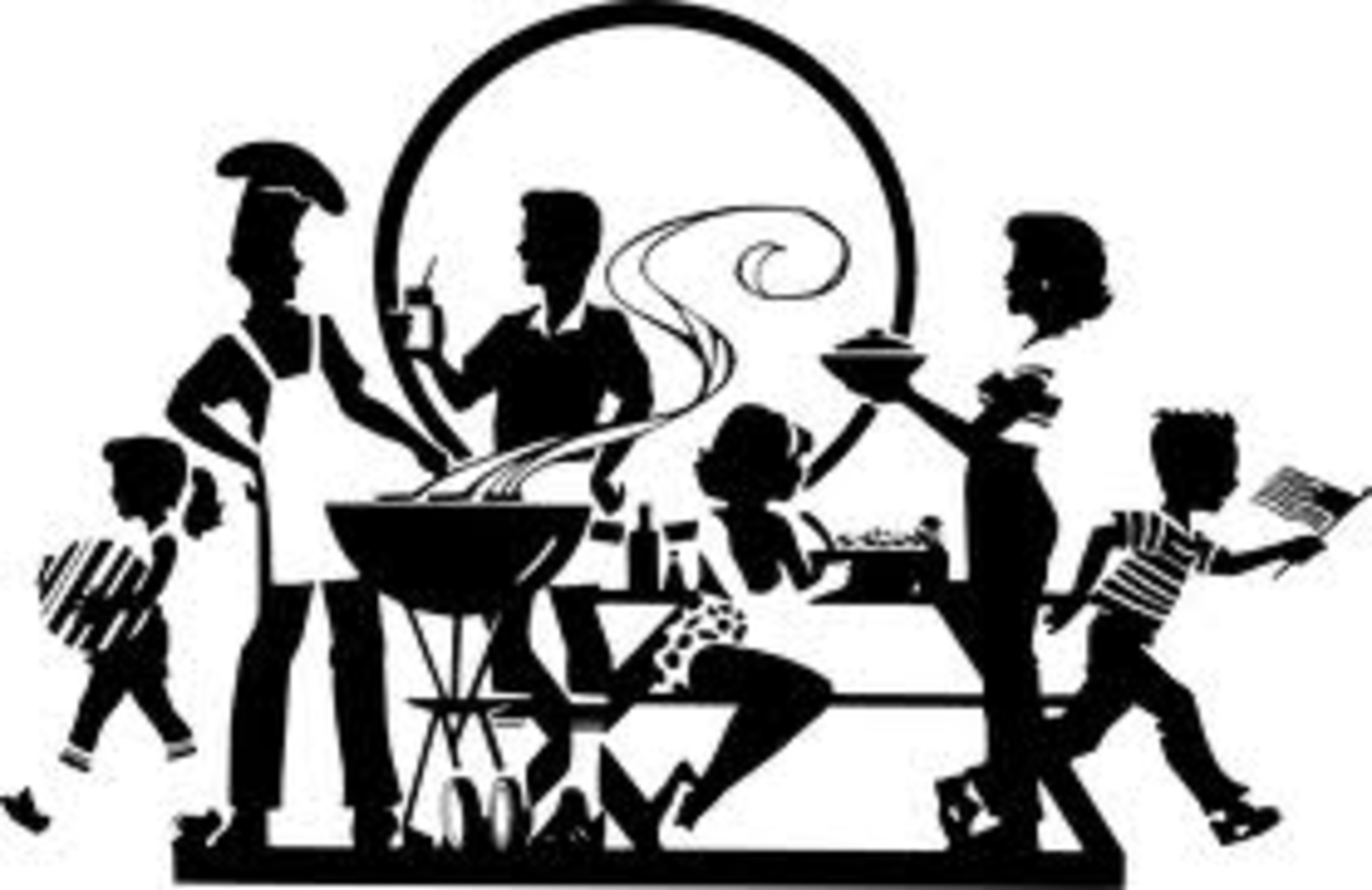 Tailgating clipart black and white