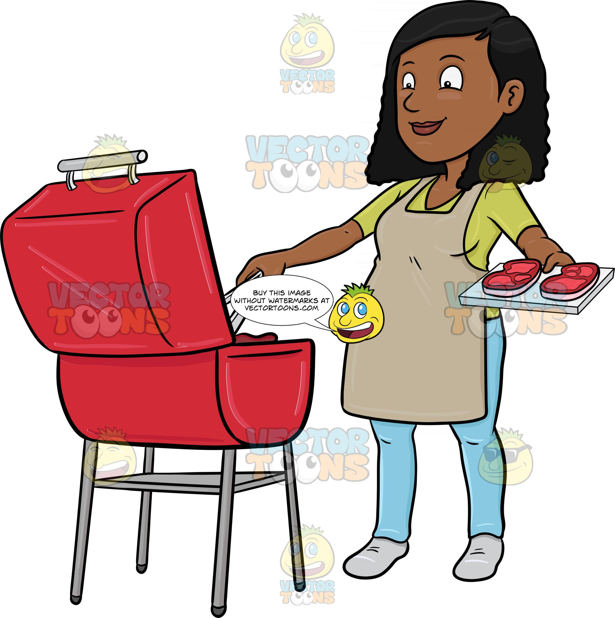 African american barbque cookout clipart jpg transparent library A Black Woman Grilling Batches Of Steak For A Party jpg transparent library