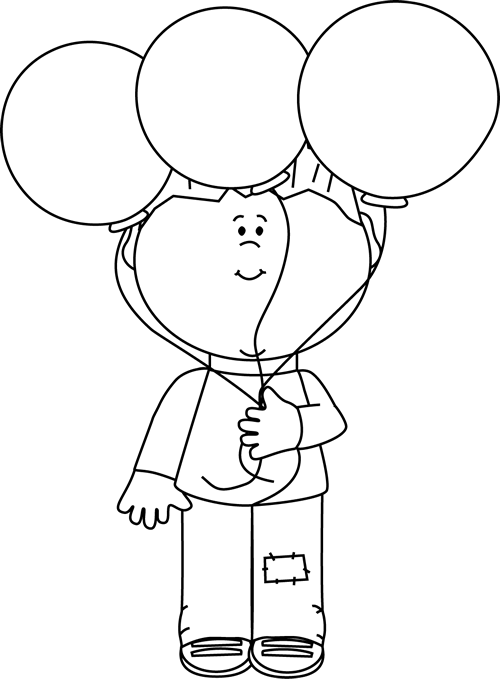 clip art black and white | Black and White Little Boy and Balloons ... graphic transparent library