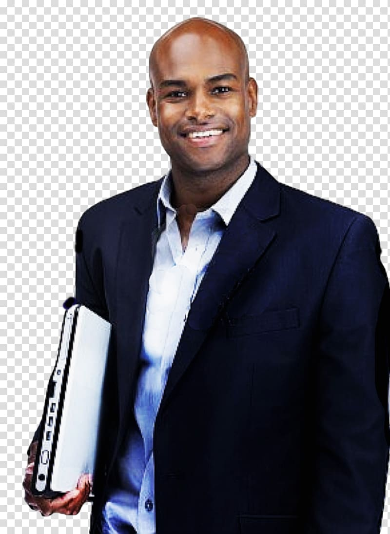African american business man clipart png banner stock Man wearing blue suit jacket holding laptop, Businessperson African ... banner stock