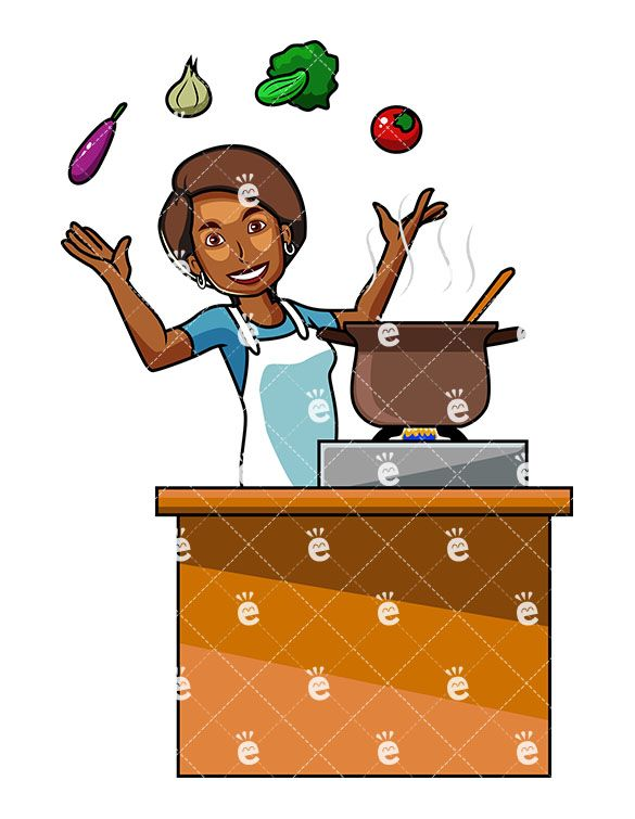 African american chef girl clipart graphic library stock A Black Woman Cooking With Vegetables | HEALTHY | Cooking clipart ... graphic library stock