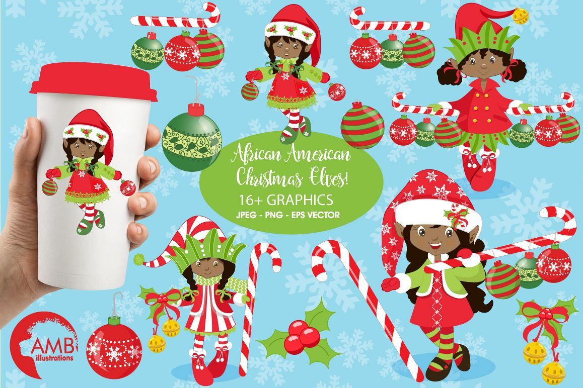 African american christmas images clipart image black and white Christmas African American elves clipart, graphics, illustrations AMB-196 image black and white