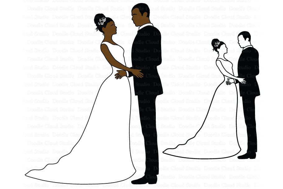 Married couple clipart svg clip transparent download African American Wedding SVG clip transparent download