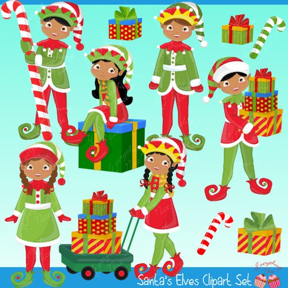 African american elf clipart banner library stock African-american Elves, Christmas Elves Clipart Set | Products | Elf ... banner library stock