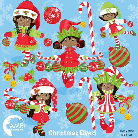 African american elf clipart image free African American Christmas Elves clipart, Christmas Girl Elves ... image free