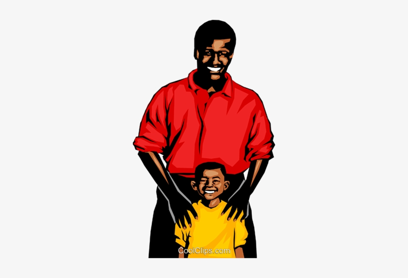 African american father and son clipart