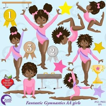 Gymnist clipart royalty free stock Gymnast Clipart, Gymnast Girls Clipart, African American Clipart, AMB-2136 royalty free stock