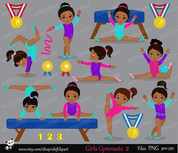 African american gymnast clipart vector transparent stock Gymnastics Girls Digital Clipart Set - African american ... vector transparent stock
