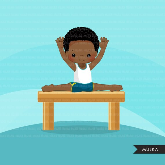 African american gymnast clipart jpg library Gymnastics Clipart. Gymnast boys, card making, planner stickers ... jpg library