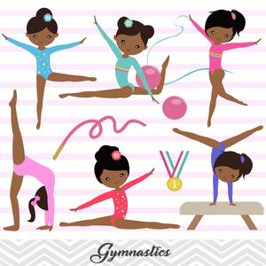 African american gymnast clipart clipart transparent download African American Girls Gymnastics Digital Clip Art, Gymnast Girl Clipart,  00204 clipart transparent download