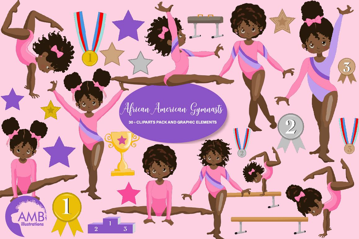 African american gymnast clipart vector free stock Gymnastic Girls Clipart AMB-2139 vector free stock