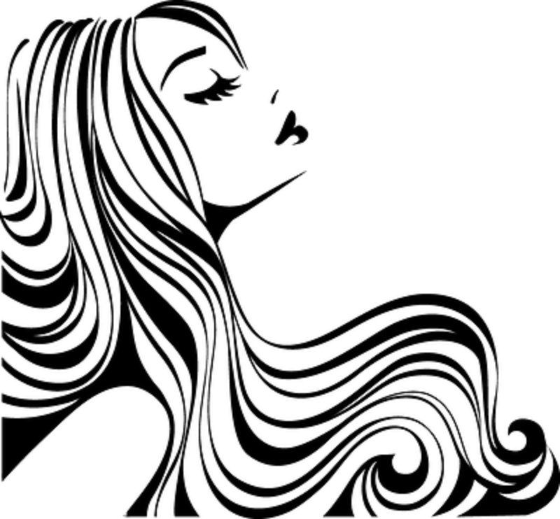 Pulling up hair clipart black and white