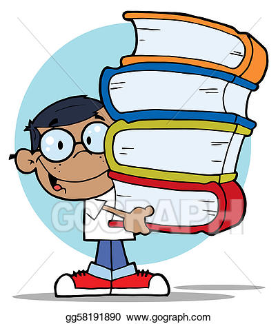 African american hispanic clipart graphic free download Vector Illustration - African american boy with books. EPS Clipart ... graphic free download