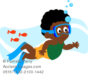 African american hispanic clipart svg transparent Clip Art Illustration of an African American Boy Swimming With Fishes svg transparent