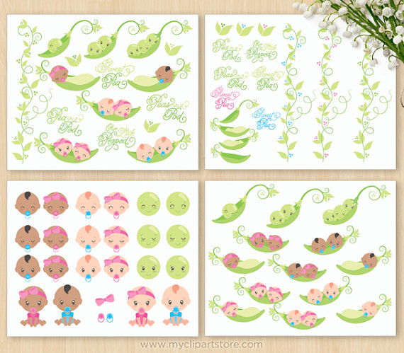 African american hispanic clipart vector black and white library Peas In A Pod, Baby Shower Clipart, Boy, Girl, African American ... vector black and white library