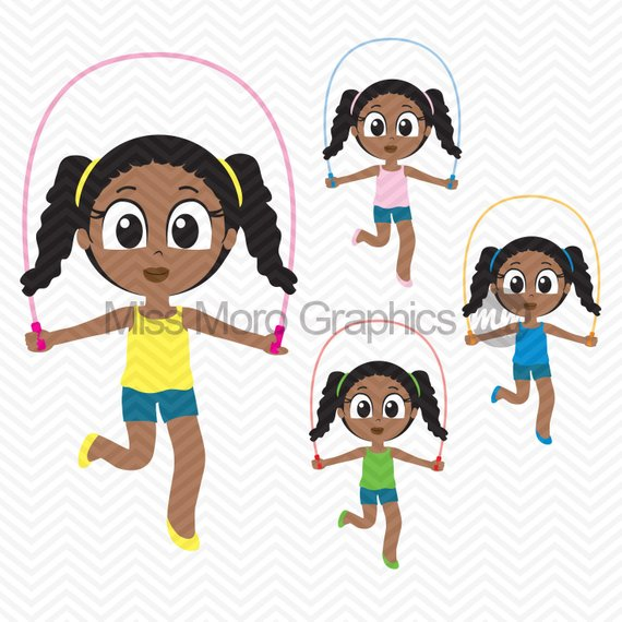 African american hispanic clipart png transparent INSTANT DOWNLOAD - African American Girl Playing Jump Rope Clipart ... png transparent