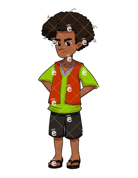 Caricuture eye clipart of african american child jpg transparent stock A Black Young Man With Afro Hair, Wearing Sandals | Clipart Of Men ... jpg transparent stock