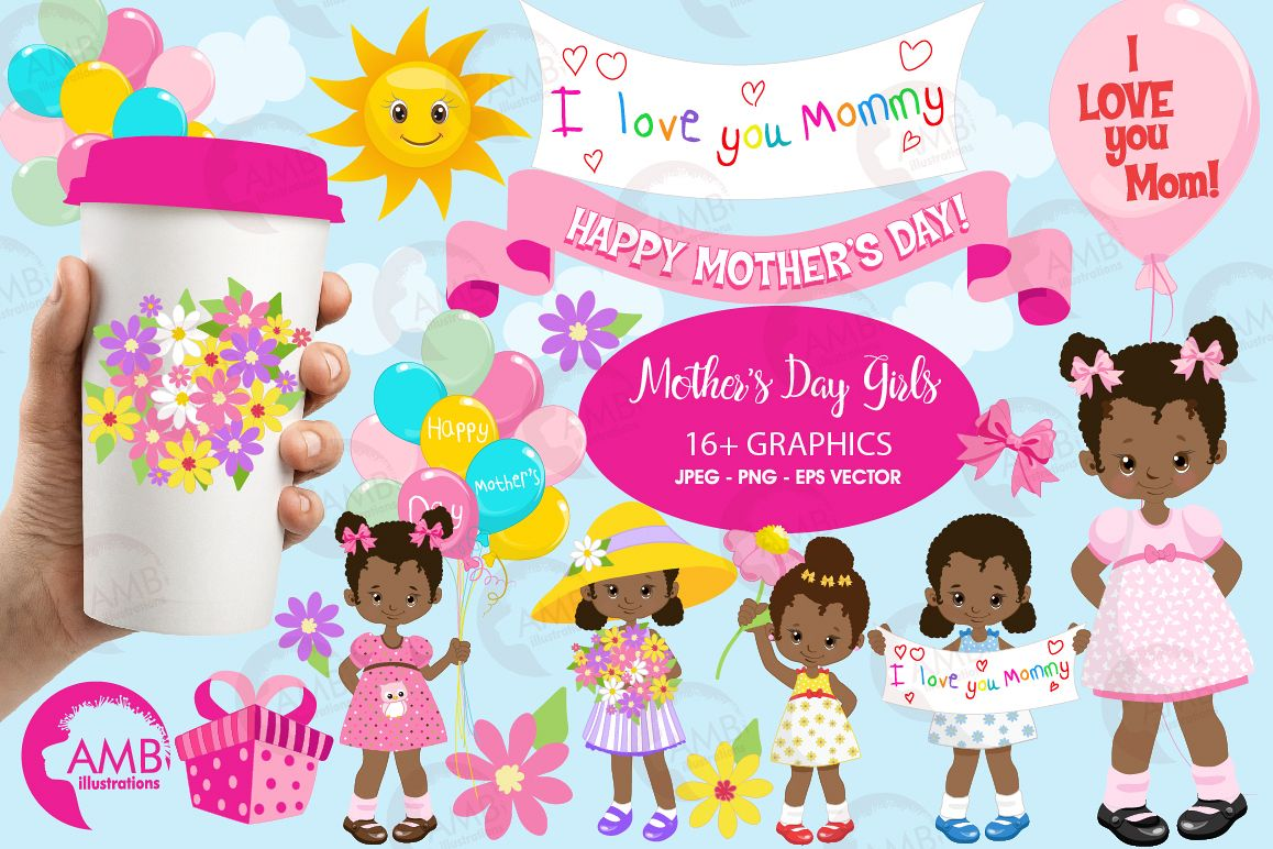African american mother-s day clipart svg stock Mothers Day kids, African American girls, graphics, clipart, illustrations  AMB-1802 svg stock