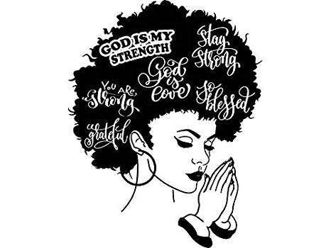 Women lettering clipart image freeuse Yetta Quiller Afro Woman Praying Lord Queen Natural Afro Hair African  American Female Lady Vector Clipart Digital Circuit Vinyl Wall Decor Cutting image freeuse
