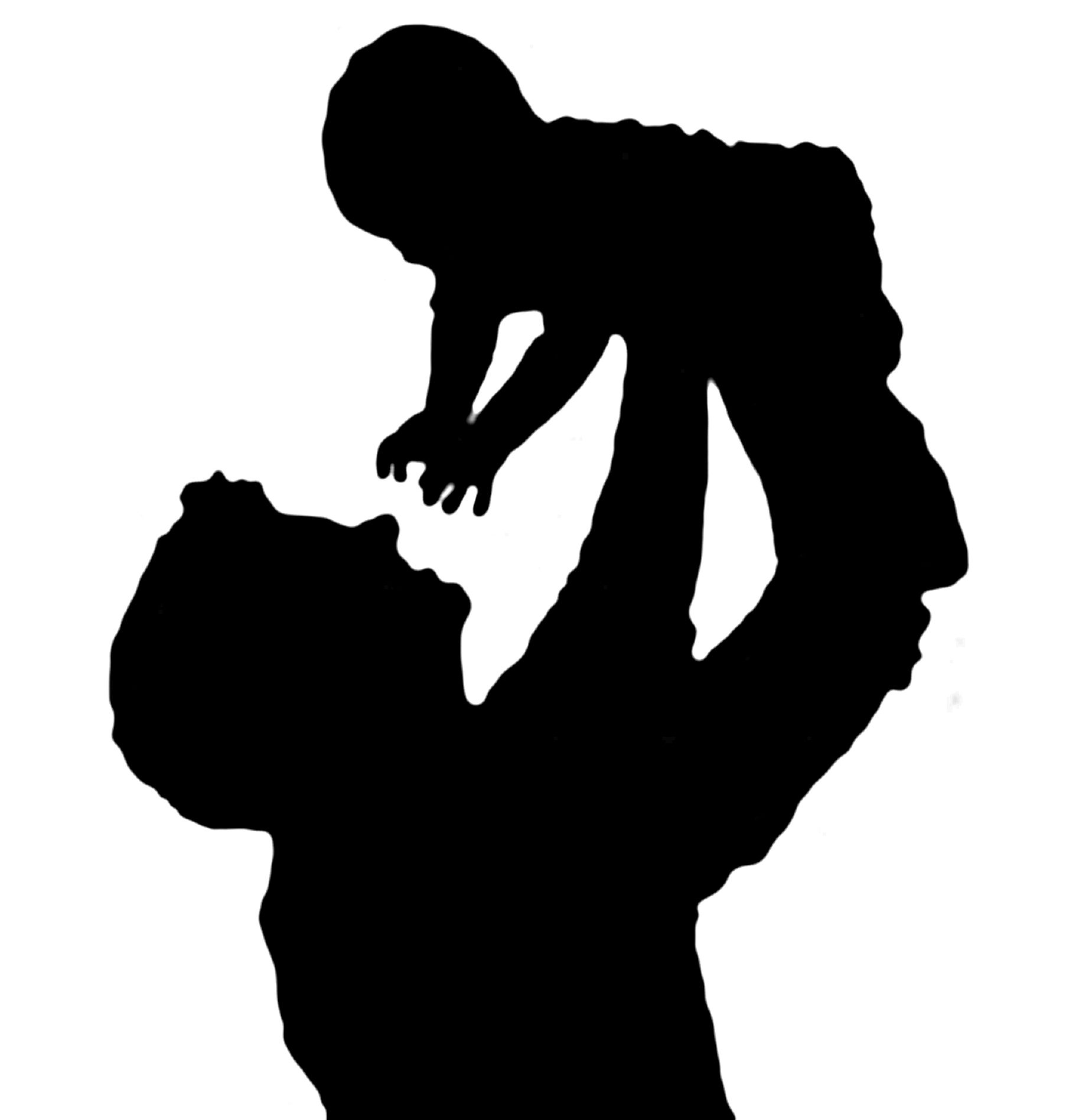 Mom kiss goodbye childblack clipart school and white graphic stock Silhouette of a father holding his child | Art | Baby silhouette ... graphic stock