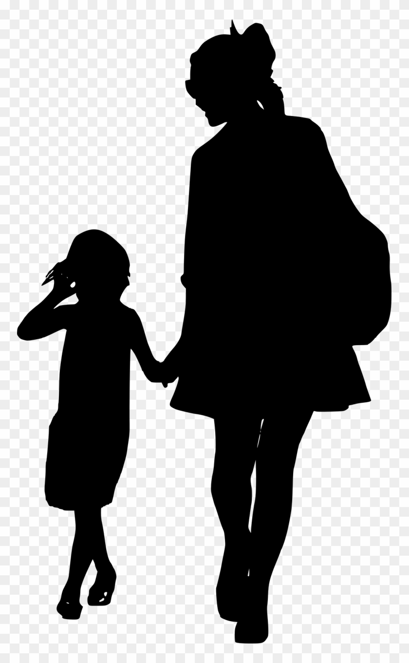 African american parents walking holding child hand clipart banner black and white Silhouette, Mother, Daughter, Together, Walking, Family - Silhouette ... banner black and white