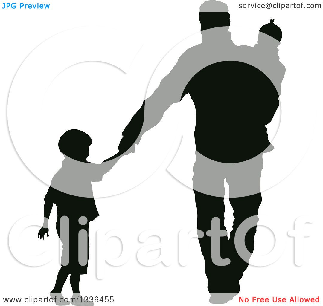 African american parents walking holding child hand clipart png transparent stock Clipart of a Black Silhouette of a Son Holding Hands and Walking ... png transparent stock