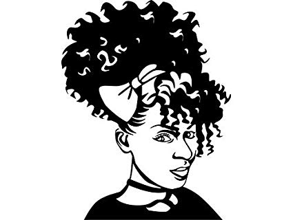 Black and white clipart of african american women clip freeuse Amazon.com: EvelynDavid Black Woman Afro Puff Stylish Princess ... clip freeuse