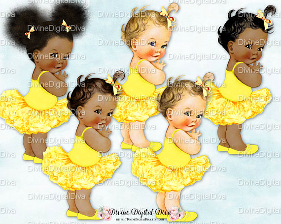 African american sitting on a pillow baby shower clipart image transparent Ballerina Yellow Tutu | Vintage Baby Girl | 3 Skin Tones | Clipart ... image transparent