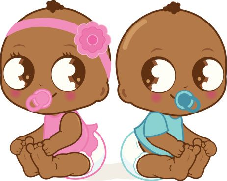 African american sitting on a pillow baby shower clipart royalty free Cute African American baby girl and boy vector art illustration ... royalty free
