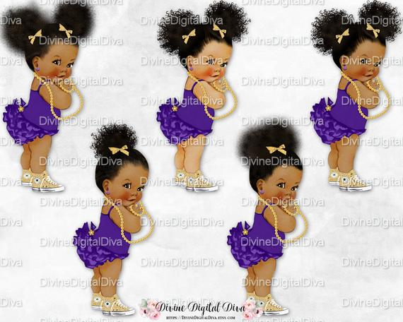 African american sitting on a pillow baby shower clipart vector freeuse download Purple Ruffle Pants Gold Sneakers Pearls | Afro Puffs & Bun 2 Skin ... vector freeuse download
