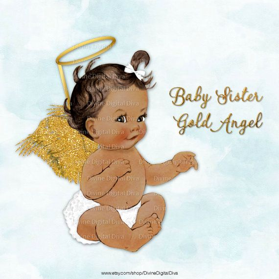 African american sitting on a pillow baby shower clipart royalty free stock Baby Angel with White Ruffle Pants Gold Glitter Wings & Halo ... royalty free stock