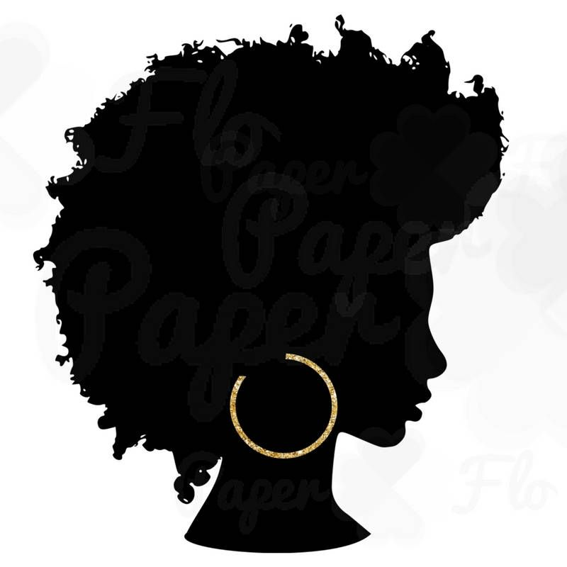 Curly hair girl clipart qith face paint clip art black and white library Afro Silhouette PNG Gold Hoops Clip Art Black Natural Hair PNG Files ... clip art black and white library