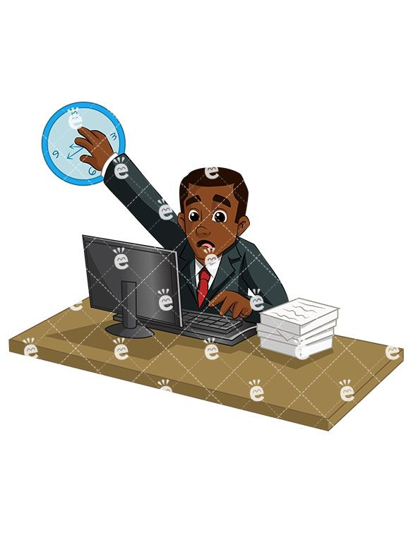African american smith clipart png royalty free An Overwhelmed Black Businessman Trying To Catch Up On Paperwork in ... png royalty free