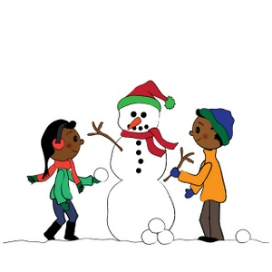 Winter clipart kids reading banner free African American kids, or black children, building a snowman in ... banner free