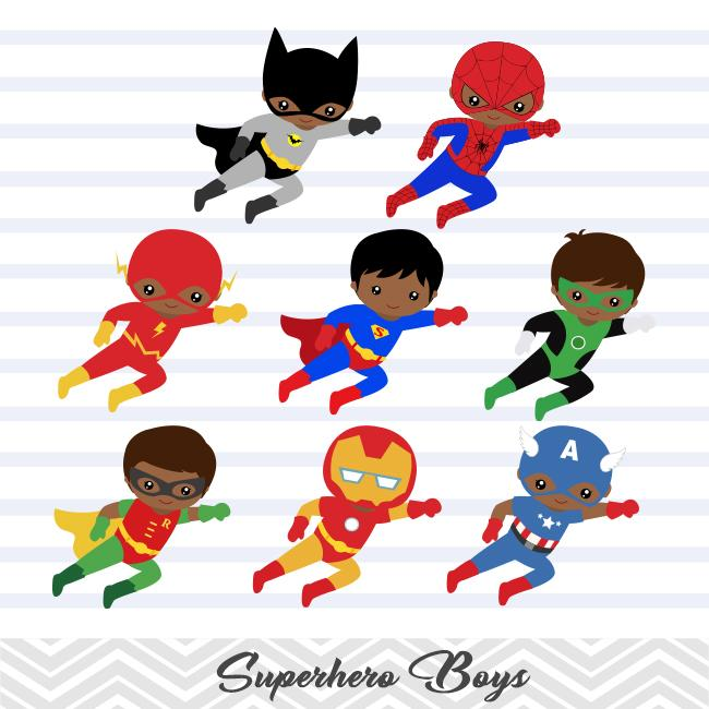 Black superhero kid clipart no water mark