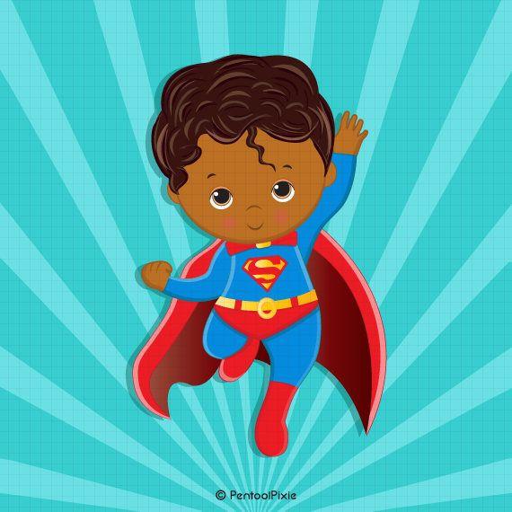 Black superhero kid clipart no water mark svg download African American Superhero baby boy clipart African American ... svg download