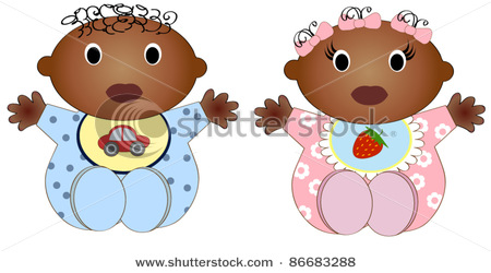 African american twin boys clipart clip art black and white stock Vector Clipart Picture of Twin African American Babies, Baby Boy and ... clip art black and white stock
