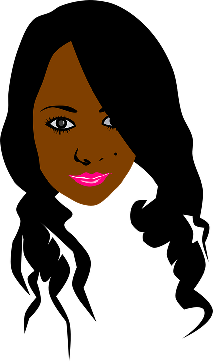 African american woman face clipart graphic black and white Woman Black hair Clip art - woman png download - 424*720 - Free ... graphic black and white