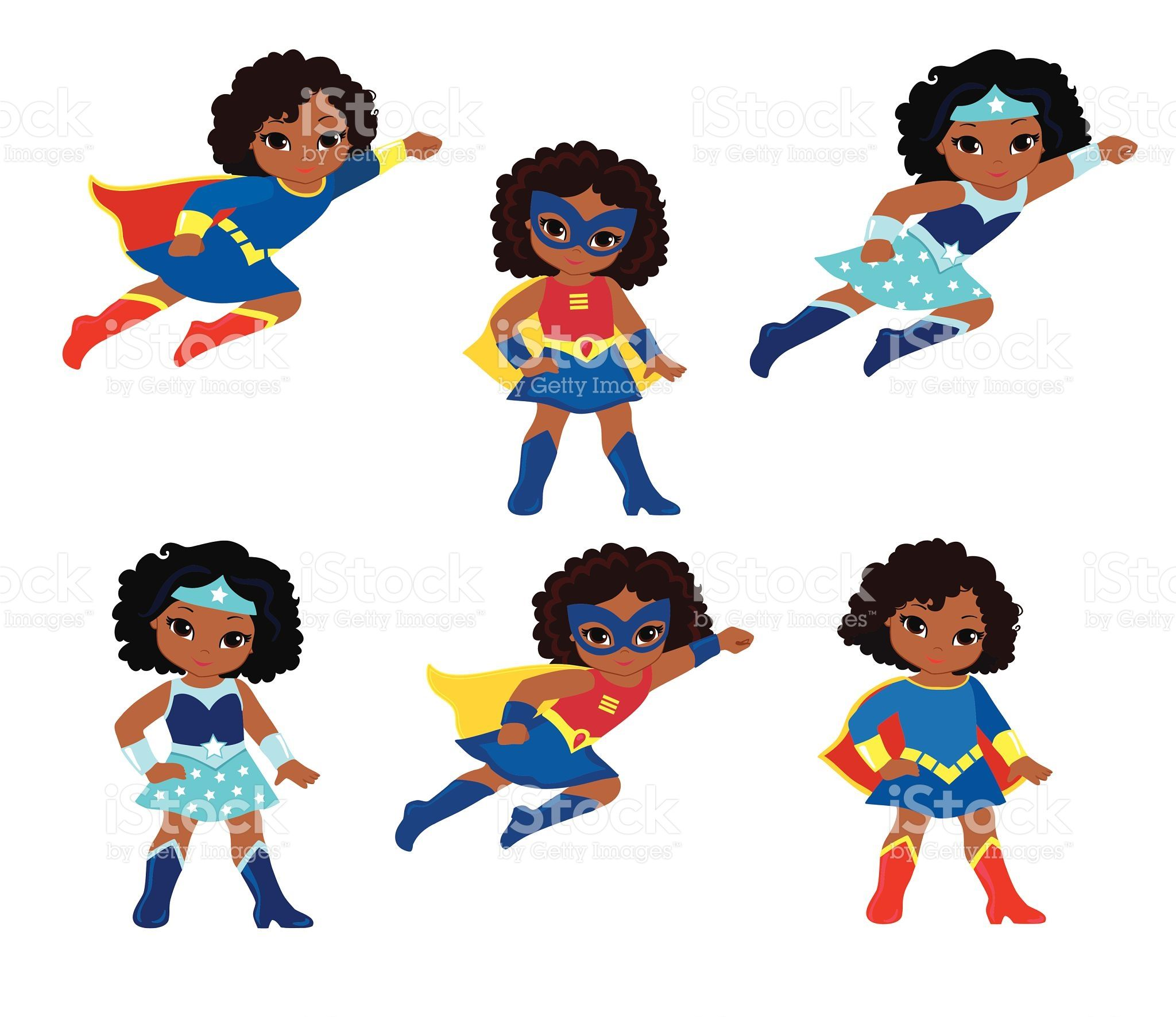 African american woman party clipart clipart royalty free library African American Cute superhero girl vector clip art set.   FARE ... clipart royalty free library