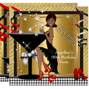 Black woman birthday clipart png black and white library Red Gold Silver Black Martini Birthday Party Invitation png black and white library